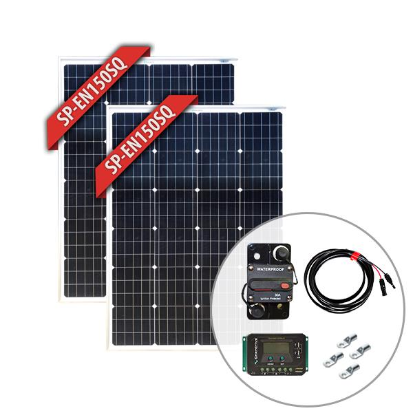 Image of Enerdrive 2 x 150W Squat Solar Panel Kit, includes Solar Charge Controller, Circuit Breaker, 10m Solar Cable & Lugs, 5 Year Warranty