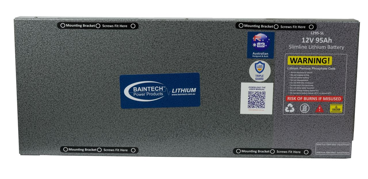 Image of Baintech 12V 95Ah Slimline Lithium Battery with 40A DC-DC Battery Charger, 5 Year Warranty