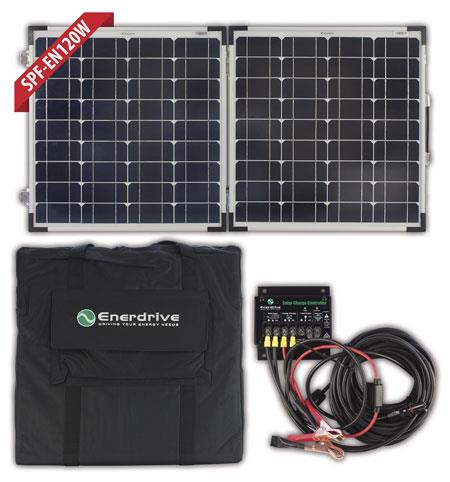 Image of Enerdrive 120W Folding Solar Panel, 10 Amp Solar Controllor with kit, 5 Year warranty