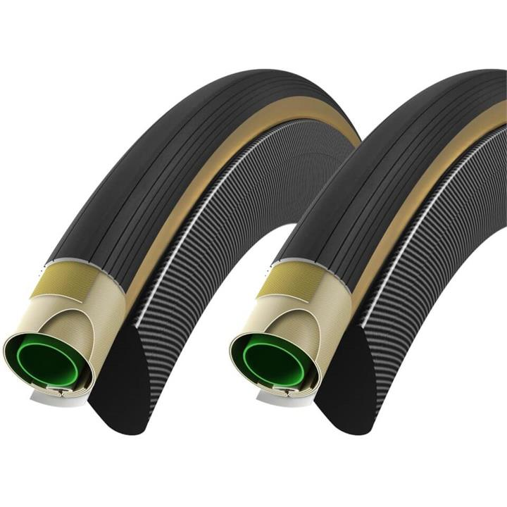 Vittoria Corsa Speed G+ Tubular Tyre Twin Pack - 28in x 23mm - Tan/Black