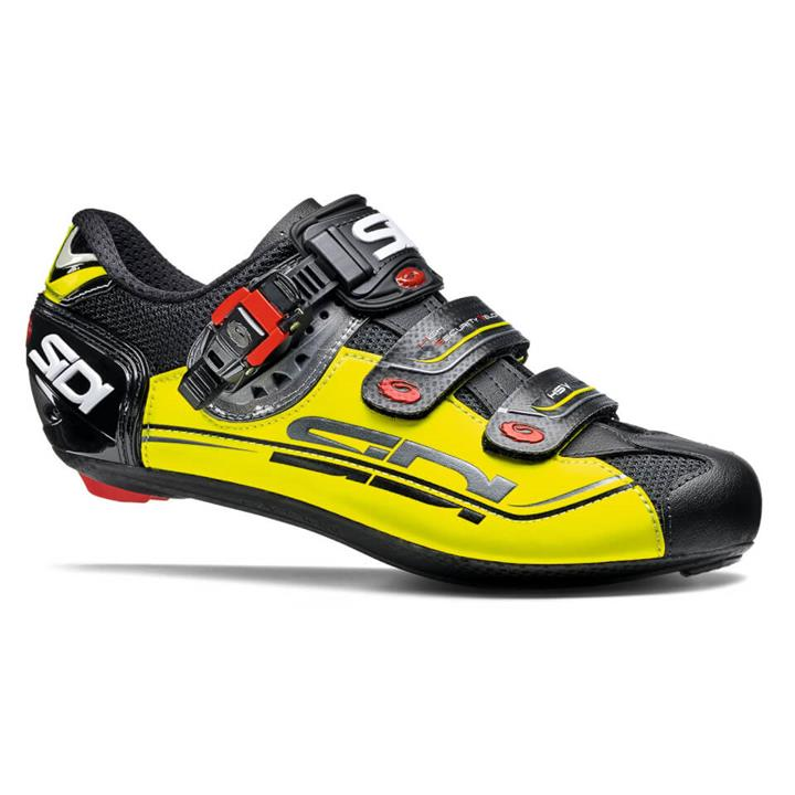 Sidi Genius 7 Mega Road Shoes - Black/Yellow Fluo/Black - EU 47 - Black/Yellow Fluo/Black