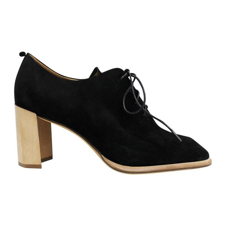 Neo X Belle Black Suede womens leather lace up booties
