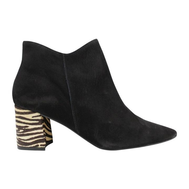 Brazillio 49143 Black Nubuck/Zebra womens pointed toe heel