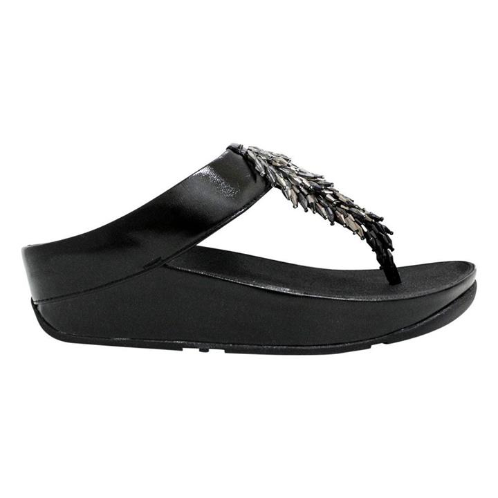 Fitflop Rumba Ombre All Black womens wedge thong