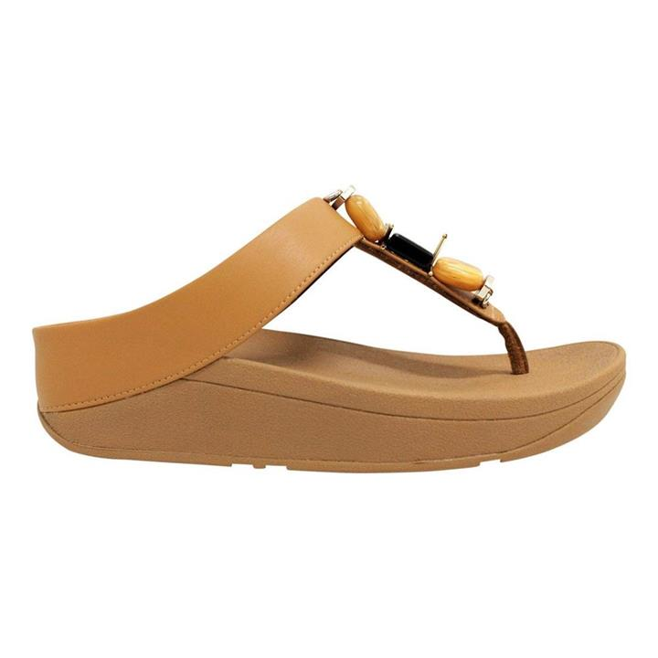 Fitflop Fino Marble Hazelnut womens wedge thong