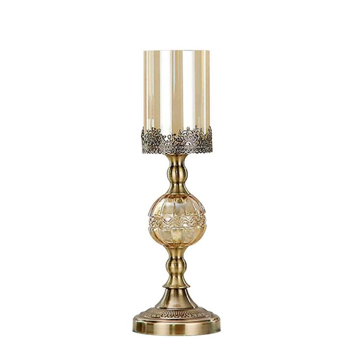 SOGA 42cm Glass Candle Holder Candle Stand Glass Metal with Candle