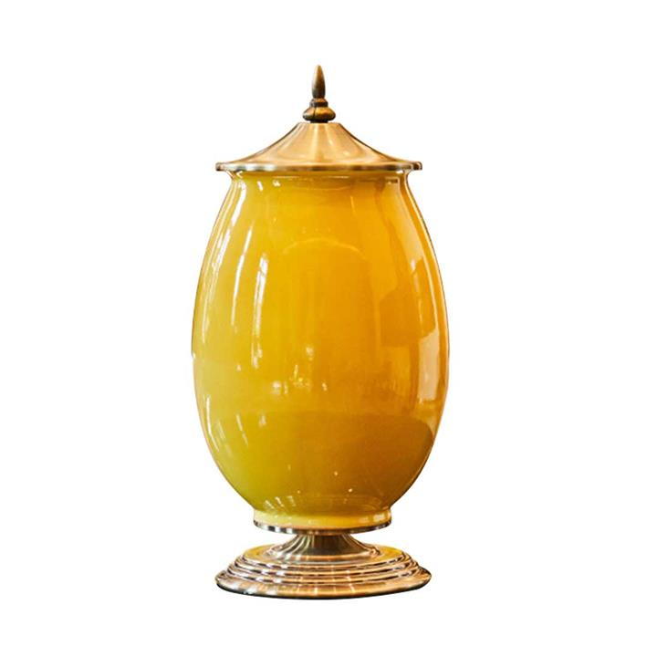 SOGA 40.5cm Ceramic Oval Flower Vase with Gold Metal Base Yellow