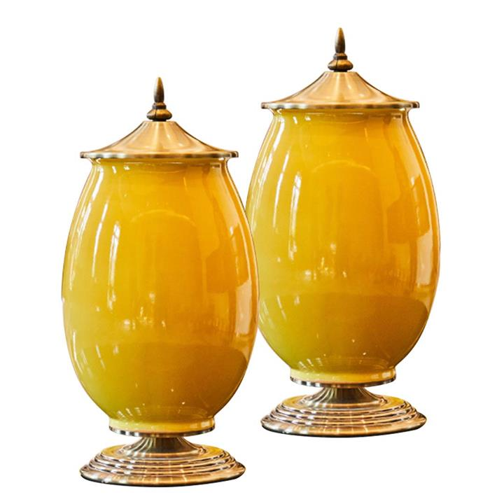SOGA 2X 40cm Ceramic Oval Flower Vase with Gold Metal Base Yellow