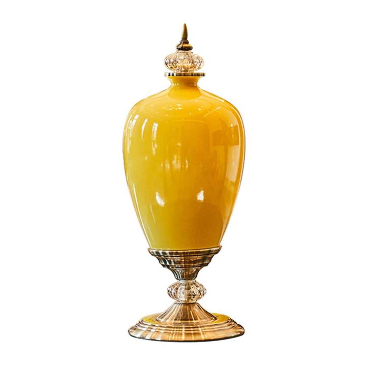 SOGA 42.50cm Ceramic Oval Flower Vase with Gold Metal Base Yellow