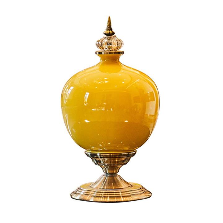 SOGA 38.50cm Ceramic Oval Flower Vase with Gold Metal Base Yellow