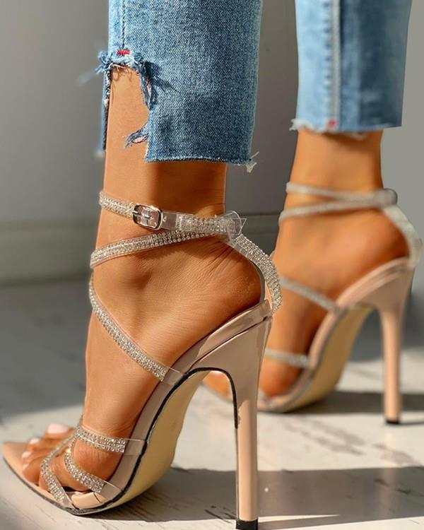 Image of Studded Multi-strap Lace-Up Thin Heeled Sandals