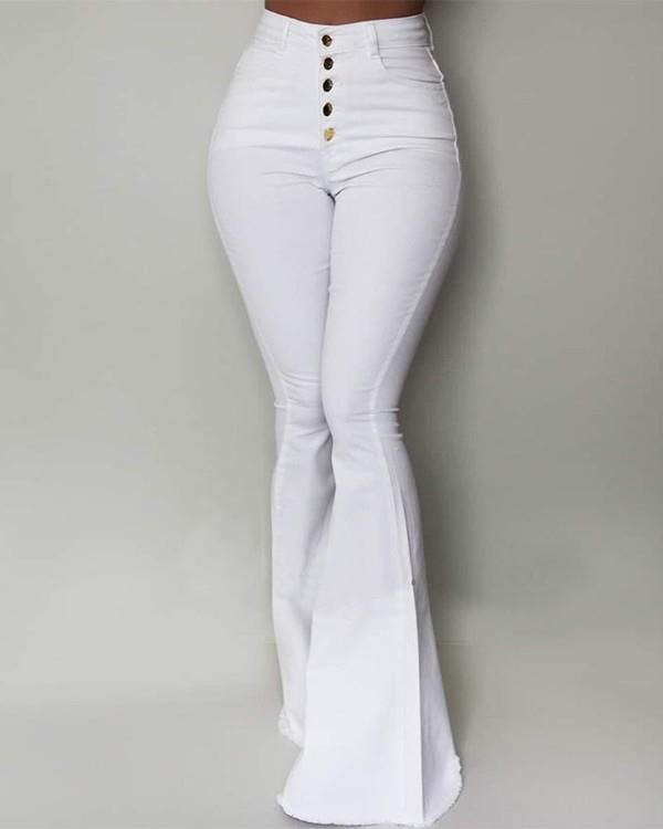 Image of Solid High Waist Slinky Bell-bottomed Pants