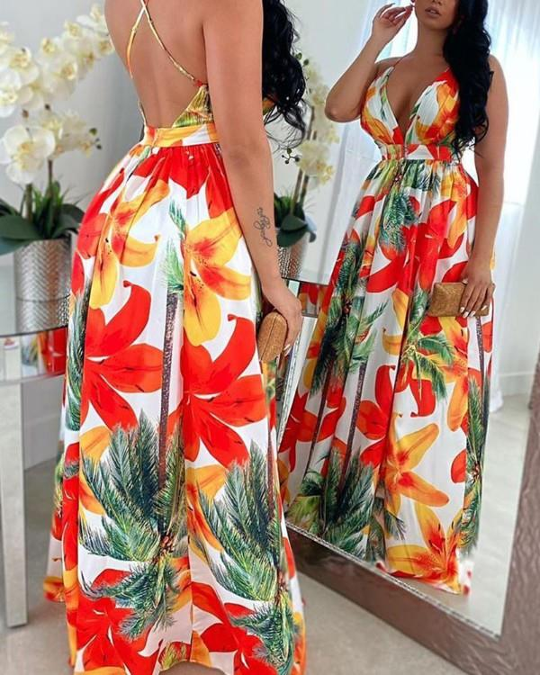 Image of Floral Print Backless Maxi Dress