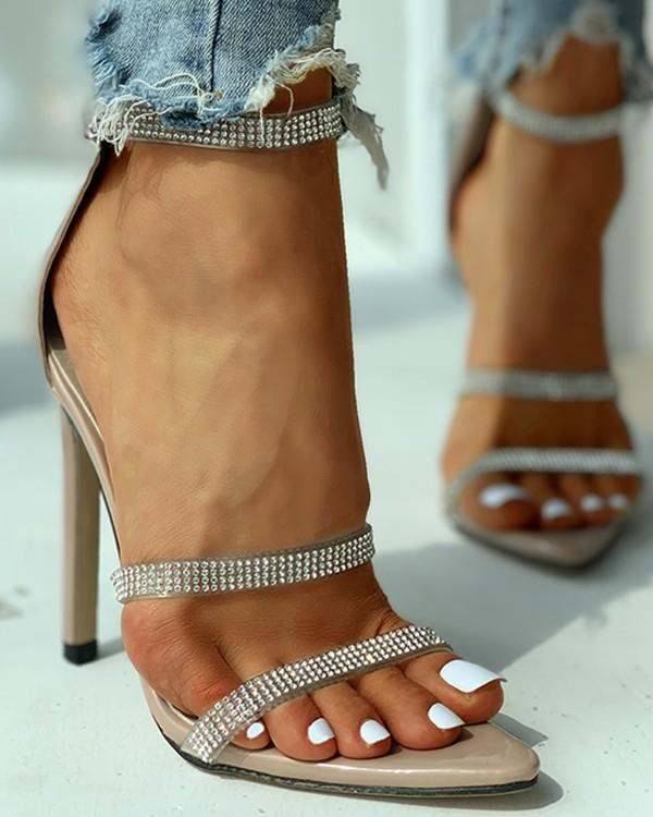 Image of Studded Ankle Strap Open Toe Thin Heels