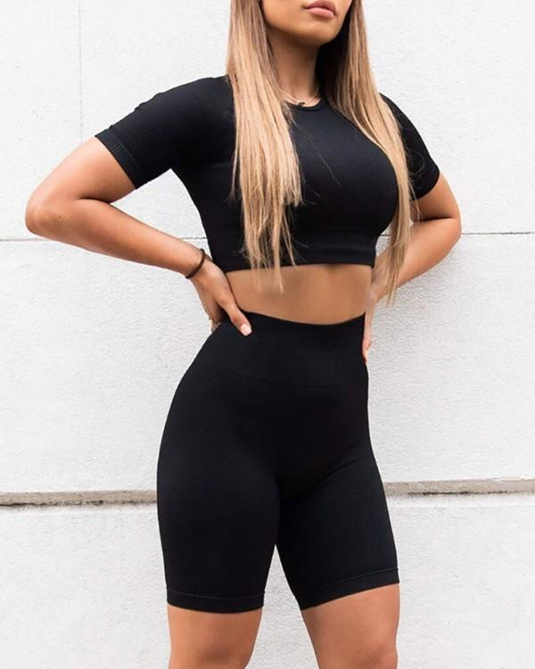 Image of Solid Round Neck Sporty Top & Short Set