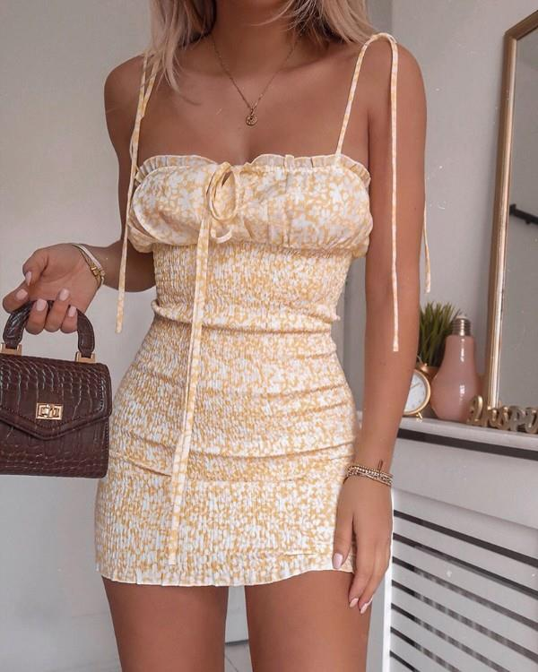Image of Floral Print Spaghetti Strap Shirring Dress