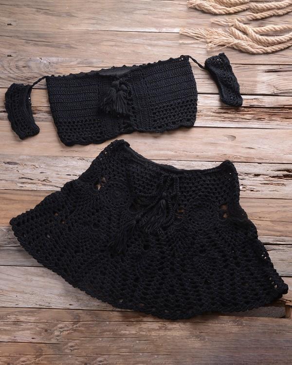 Image of Hollow Out Tassel Design Crochet Tankini Set