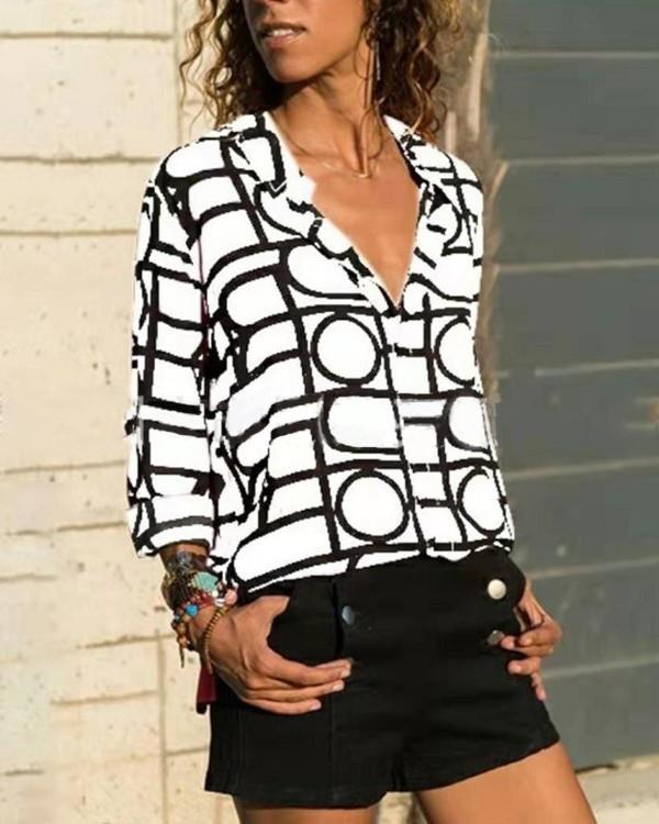 Image of Casual Grid Blouse Top