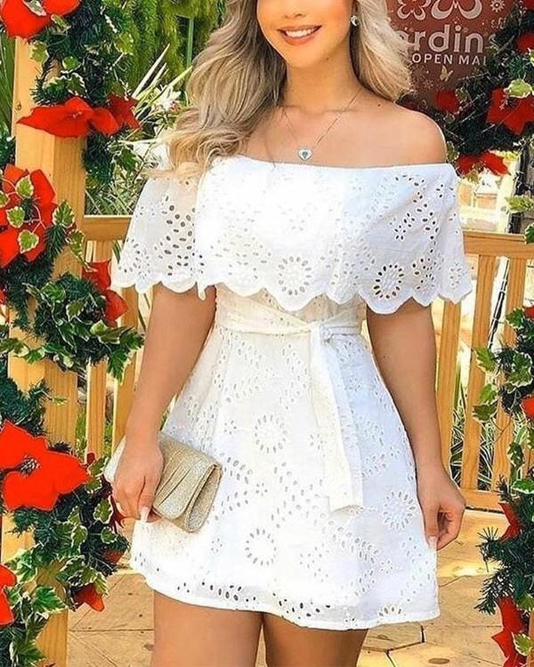 Image of Off Shoulder Broderie Lace Mini Dress