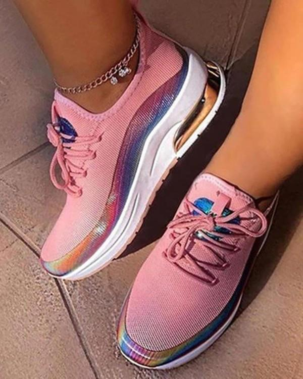 Image of Colorblock Lace-up Breathable Sneakers