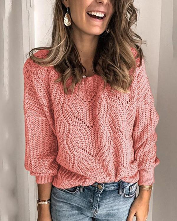 Image of Solid Round Neck Weave Knit Sweater