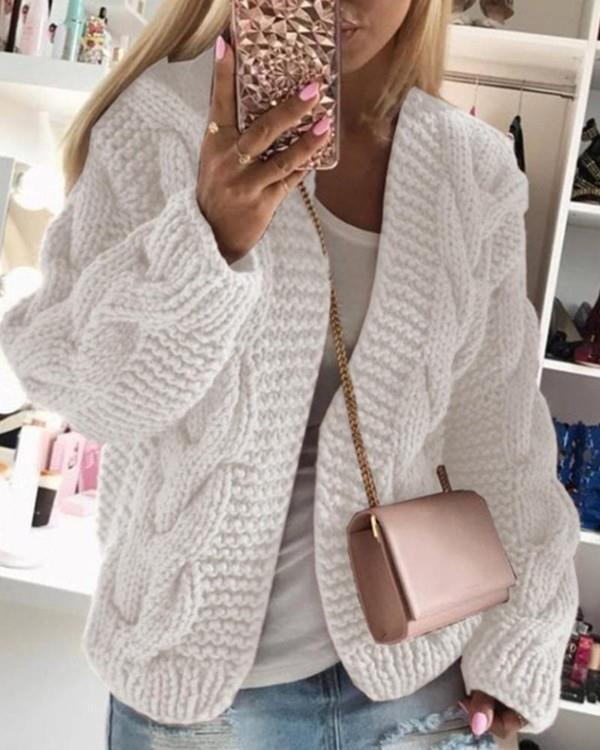 Image of Solid Long Sleeve Woven Knitted Loose Cardigans