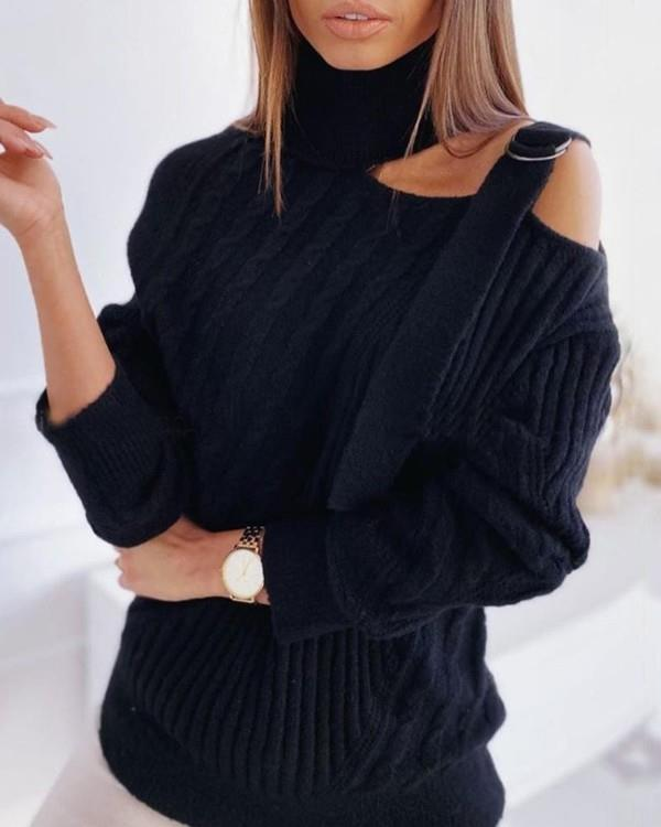 Image of One Shoulder Buckled Knit Hollow Out Sweater