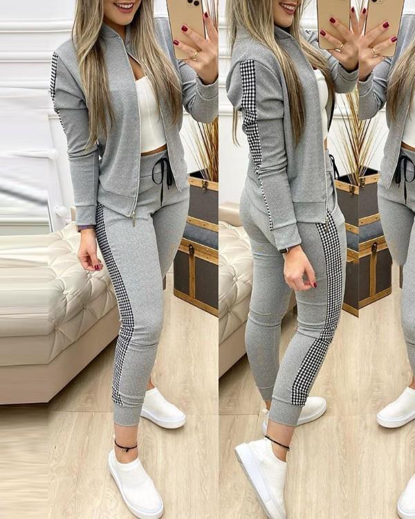 Image of Contrast Plaid Jacket & Drawstring Pants Set