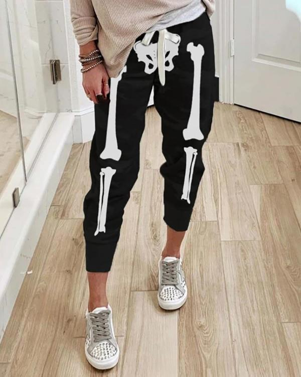 Image of Halloween Skull Print Drawstring Sweatpants