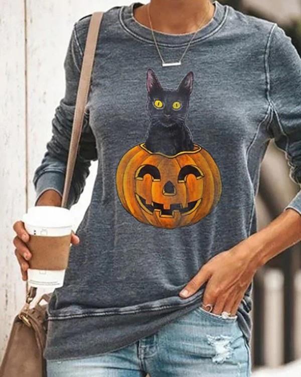 Image of Halloween Pumpkin Head Smiley Cat Print Sweatshirt