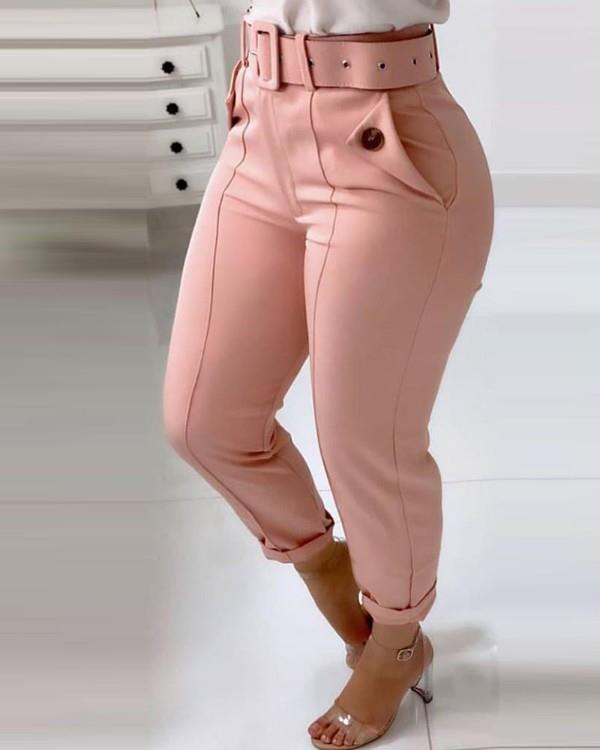 Image of Pocket Design Buttoned Casual Pants