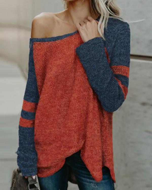 Image of Contrast Color One Shoulder Stripes Casual Top