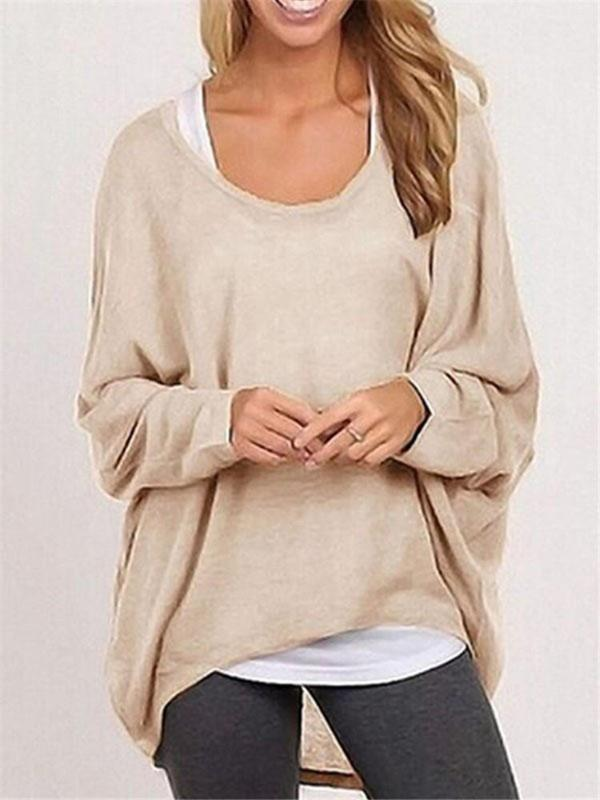 Image of Fall Fashion Women's Long Sleeve Solid Color Woolen Sweater Plus Size Casual Tops Loose T-shirt Pullovers