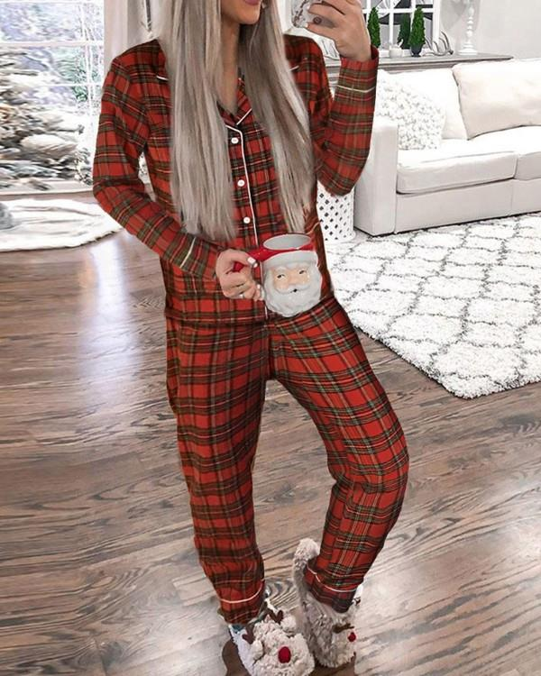 Image of Christmas Plaid Print Pajamas Set