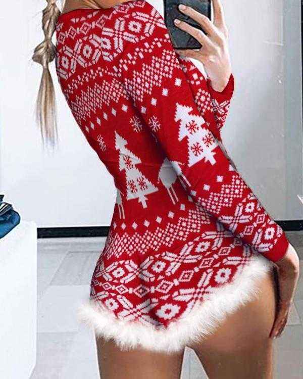 Image of Christmas Fluffy Trim Button Front Lounge Romper