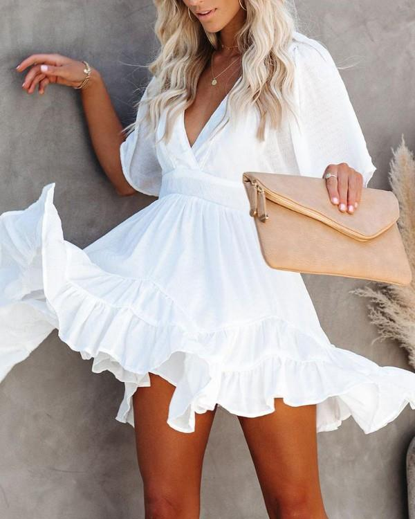 Image of Fit & Flare Ruffle Dress