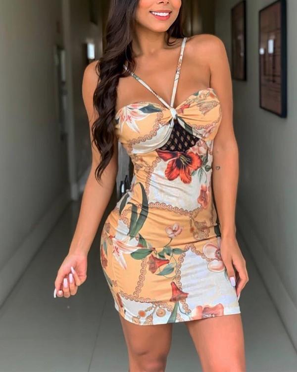 Image of All Over Print Sleeveless Slinky Mini Dress
