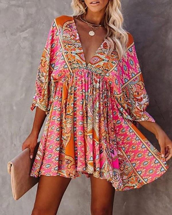 Image of V-Neck Ethnic Print Ruched Casual Dress