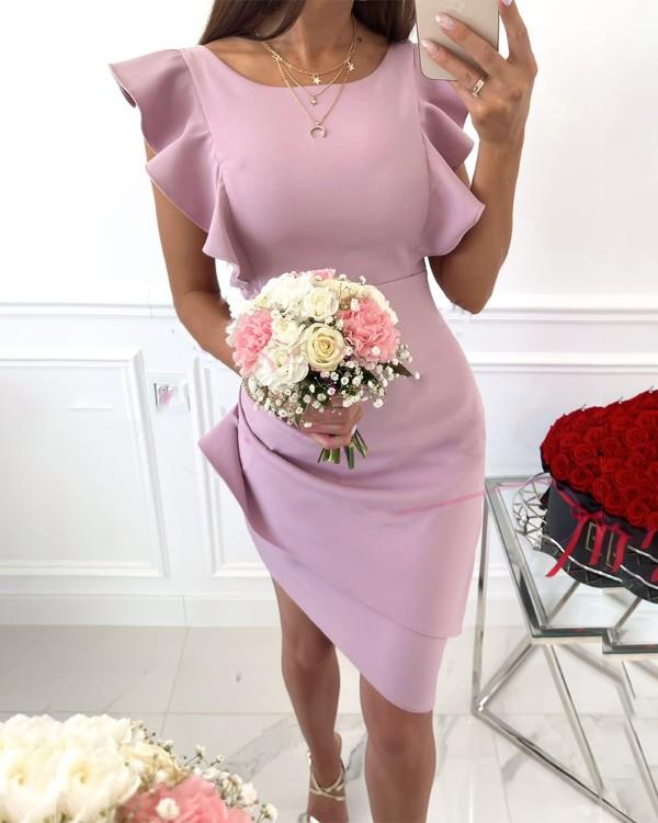Image of Solid Color Asymmetrical Frill Hem Lace-up Bodycon Dress