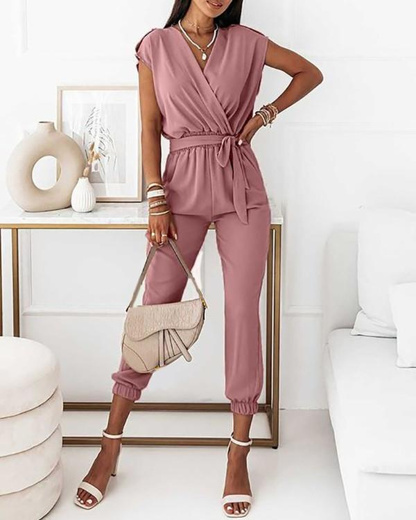 Image of Tied Detail Ruched Short Sleeve Casual Jumpsuit