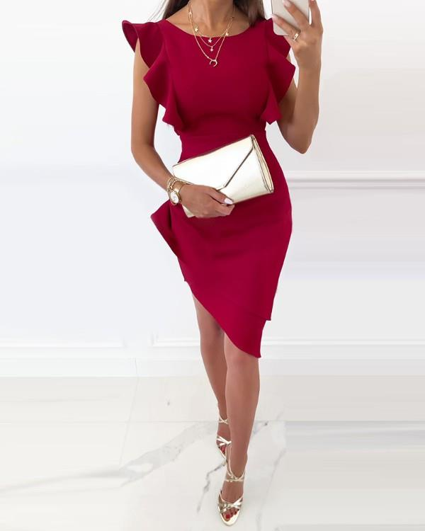 Image of Flutter Sleeve Ruched Cutout Knotted Dress