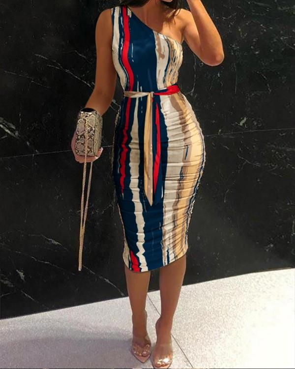 Image of One Shoulder Ruched Tie Front Bodycon Dress
