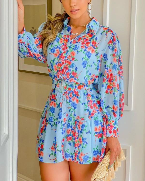Image of Button Front Floral Print Dress With Belt