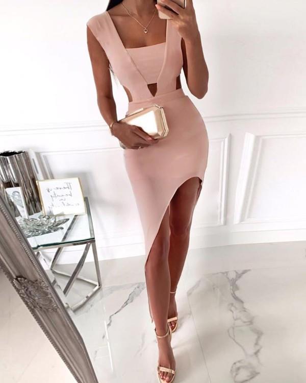 Image of Cut Out Waist Slit Irregular Party Dress
