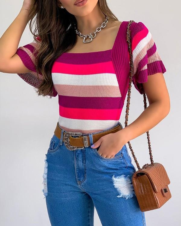 Image of Rainbow Stripe Square Neck Ribbed Top