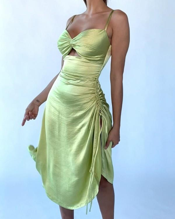Image of High Slit Ruched Twisted Cutout Front Satin Dress