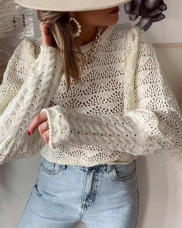 Image of Puff Lantern Sleeve Knit Hollow Out Sweater