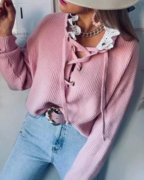 Image of Eyelet Lace-up Lace Patch Sweater