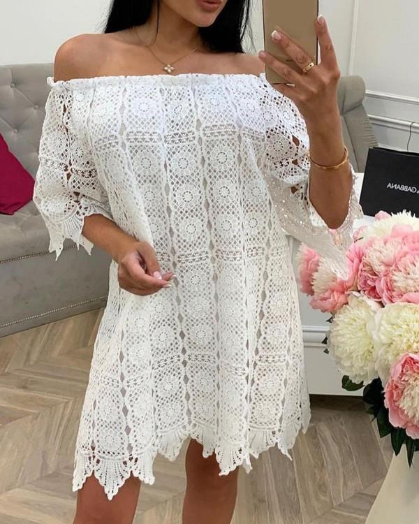 Image of Off Shoulder Hollow Out Embroidery Casual Dress