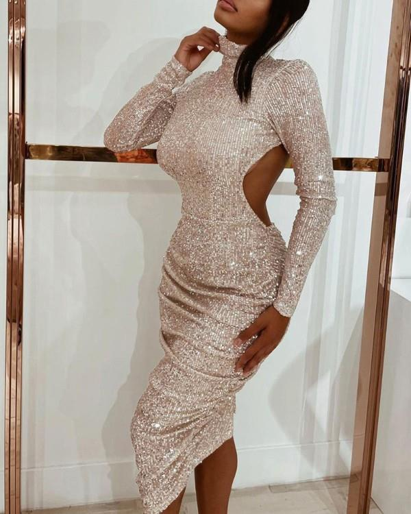 Image of Allover Sequins Cutout High Neck Party Dress